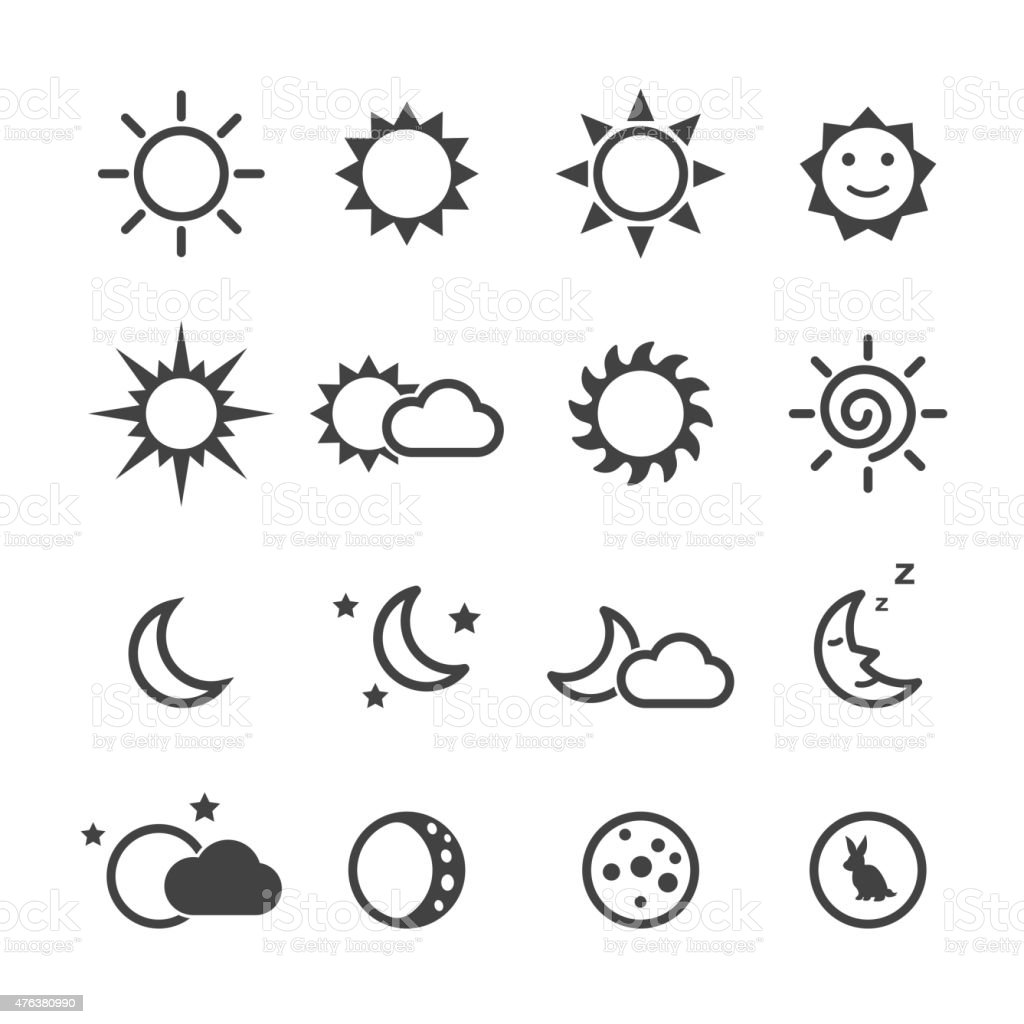 sun and moon icons vector art illustration