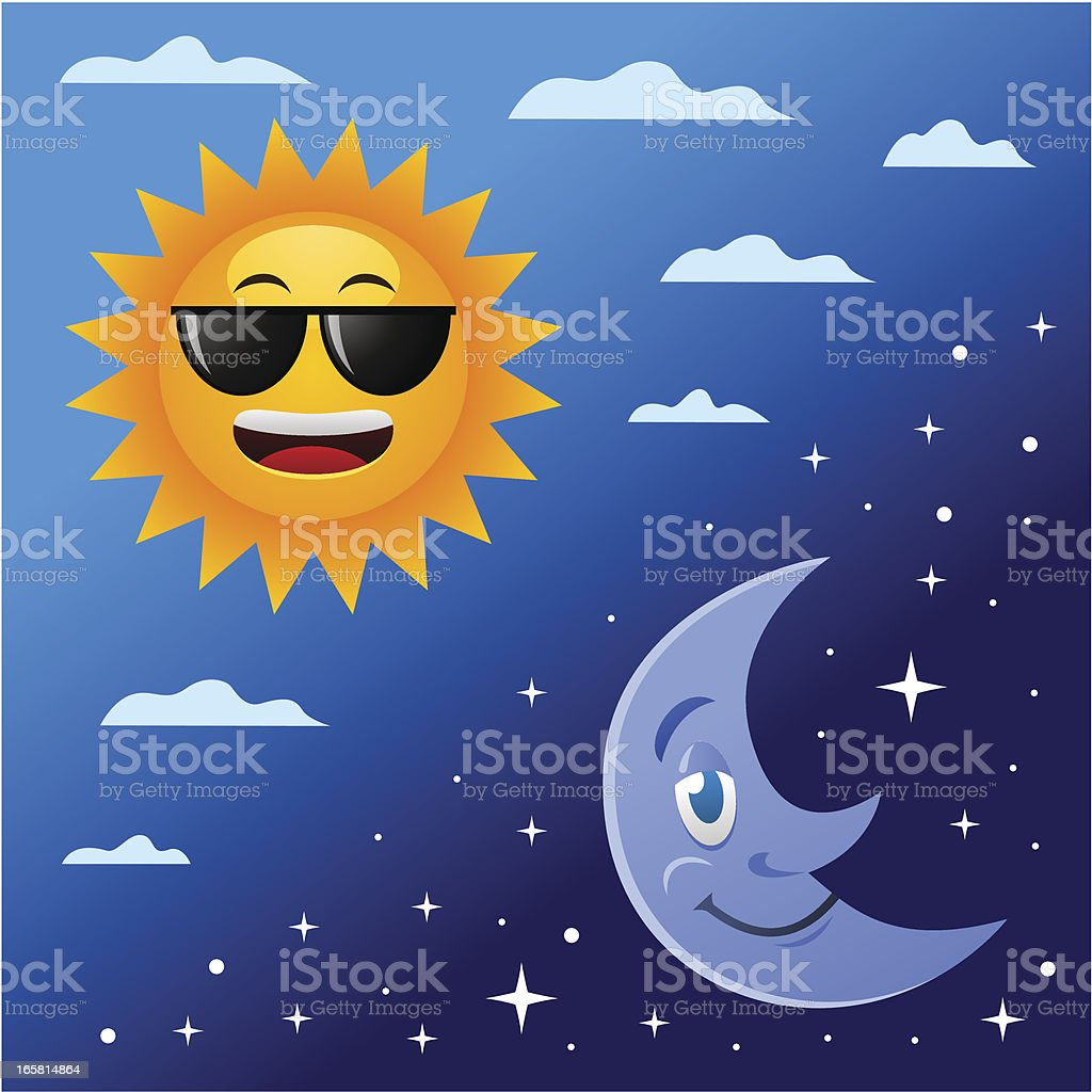 Sun and Moon royalty-free stock vector art