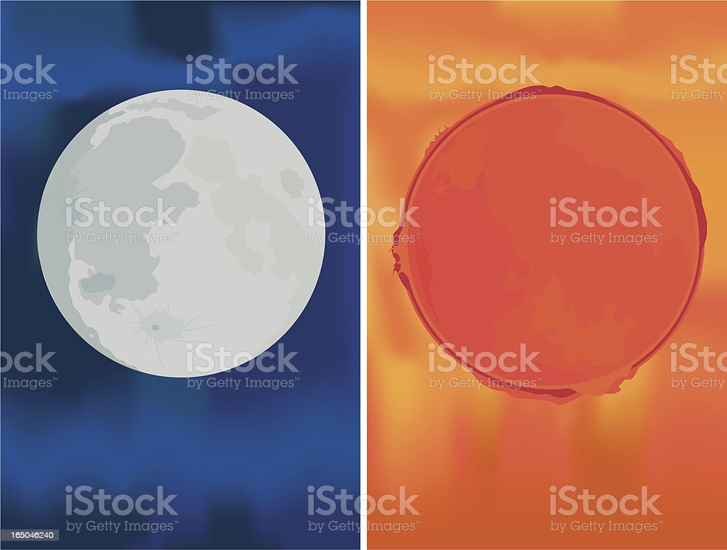 Sun and Moon - Vector royalty-free stock vector art