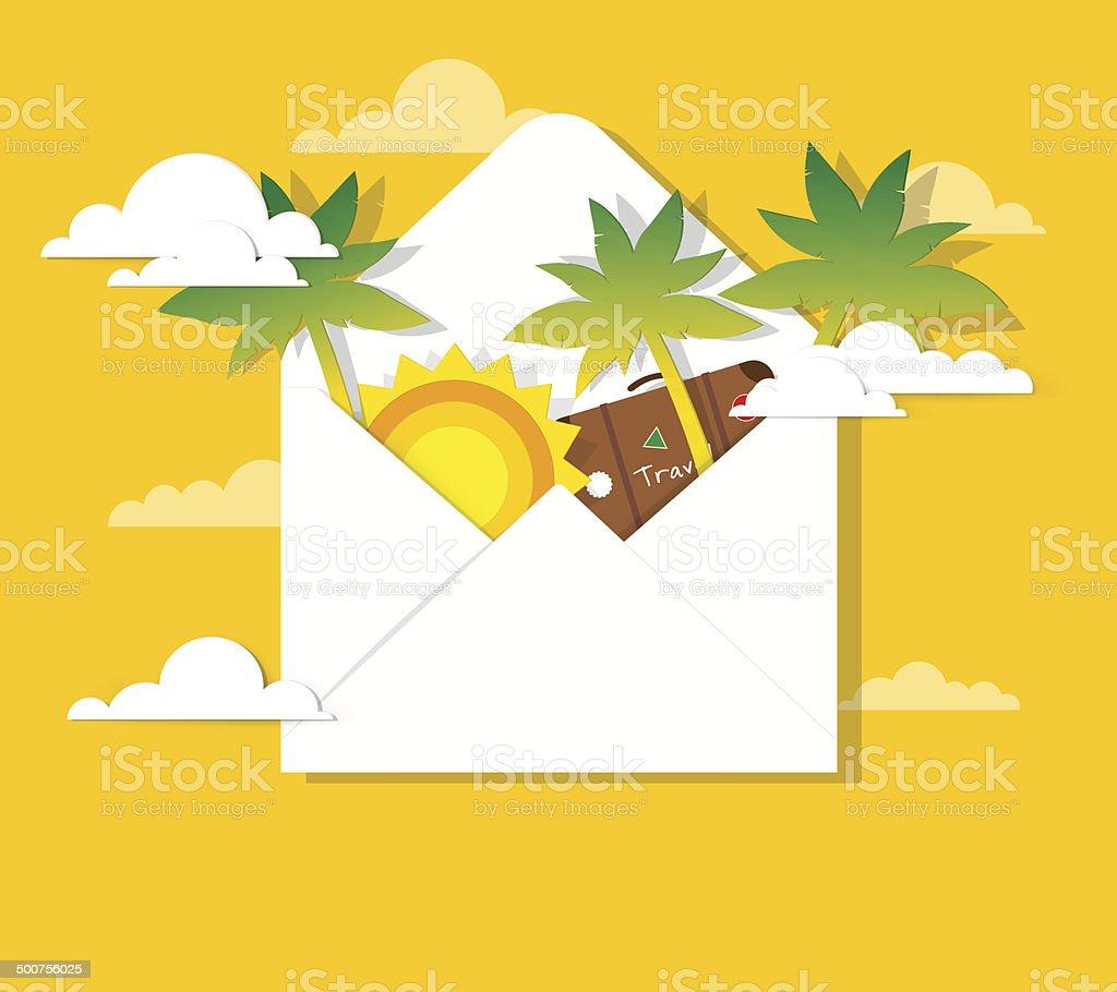 Soleil et palmiers dans le courrier stock vecteur libres de droits libre de droits