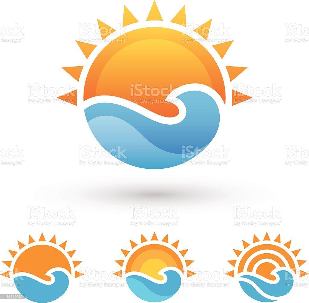 Sun and sea symbol vector art illustration