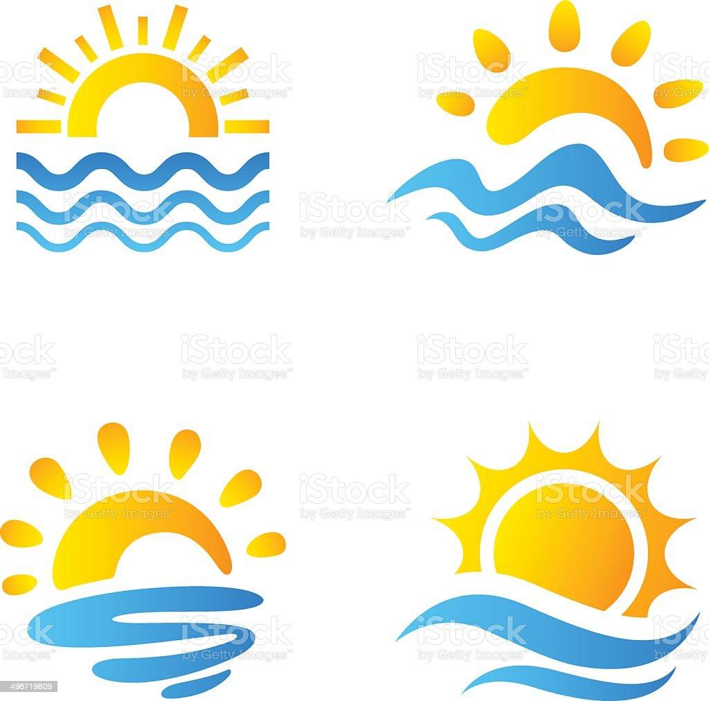 Sun and sea vector art illustration