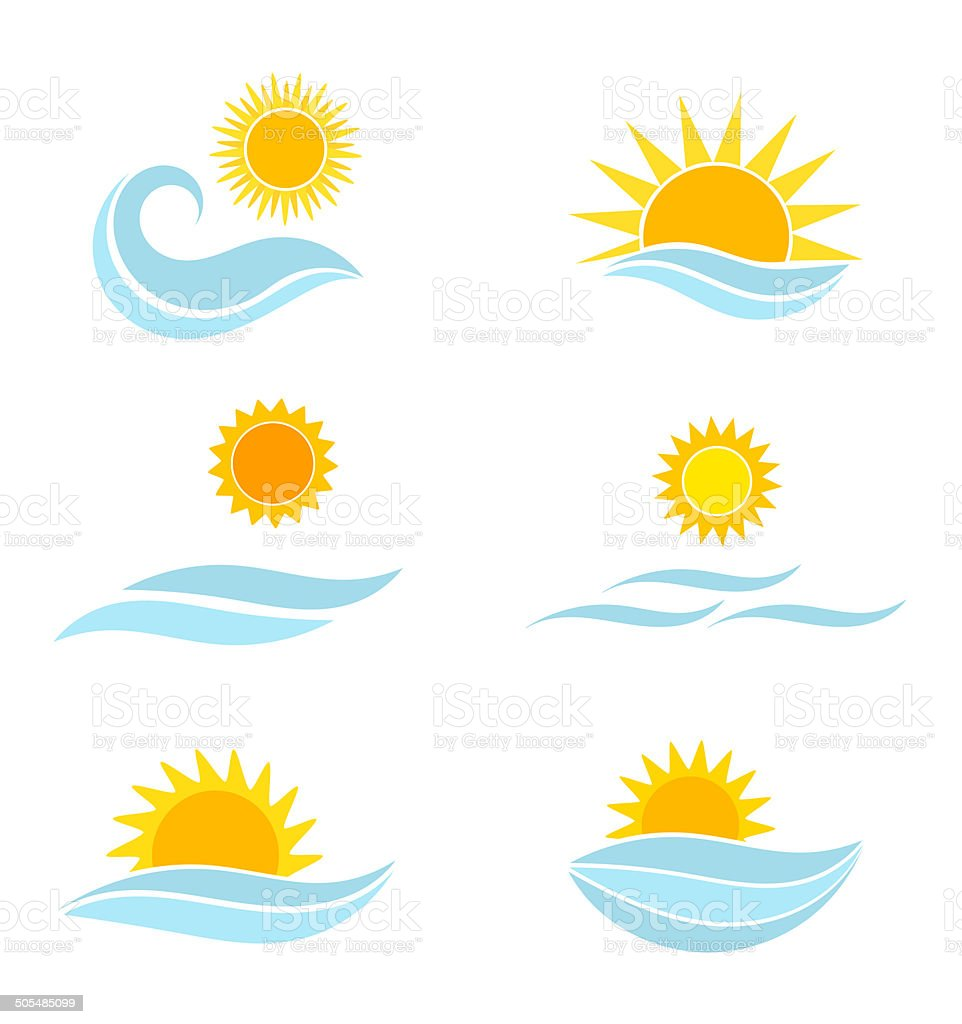 Sun and sea waves icons vector art illustration