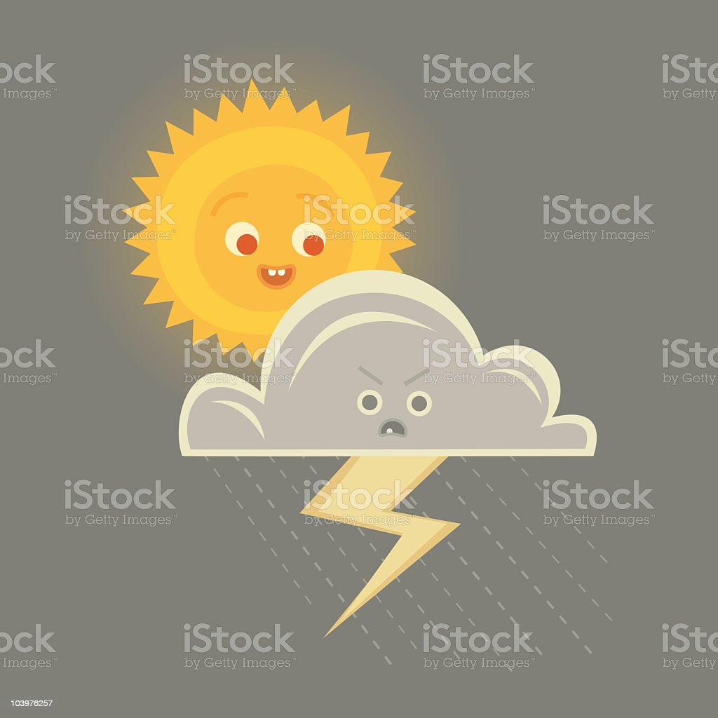 Sun and Storm Cloud Character royalty-free stock vector art
