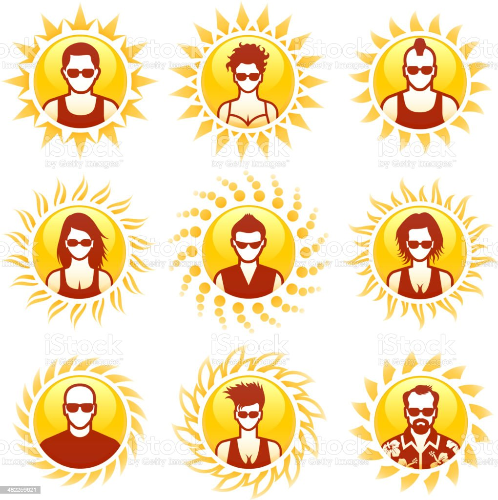 Sun and Sunny, People Set royalty-free stock vector art