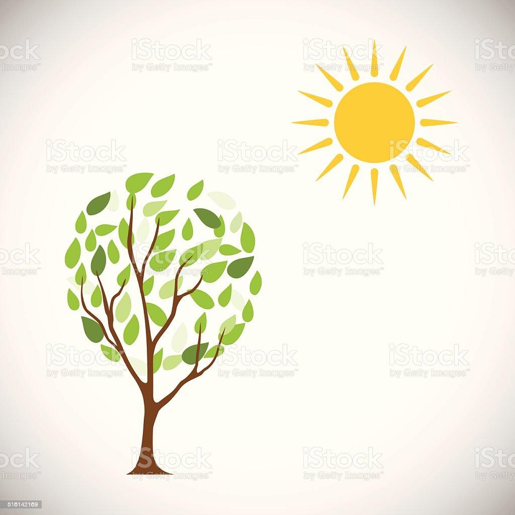 Soleil et arbre.  Illustration vectorielle stock vecteur libres de droits libre de droits