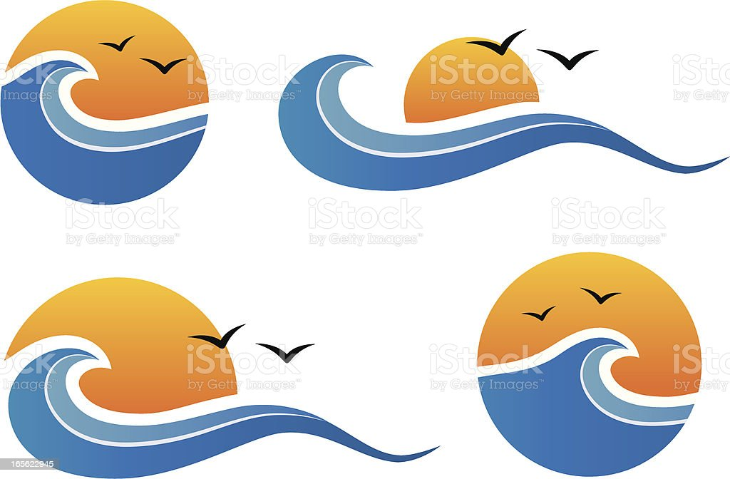 Sun and wave design elements royalty-free stock vector art