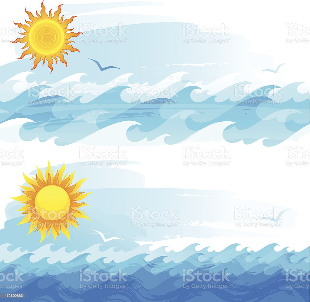Sun and waves royalty-free stock vector art