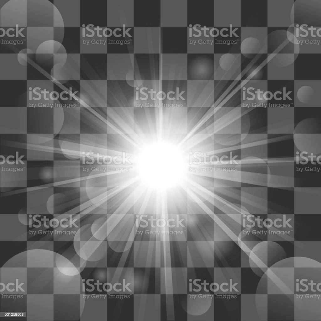 Sun burst on transparency background vector art illustration