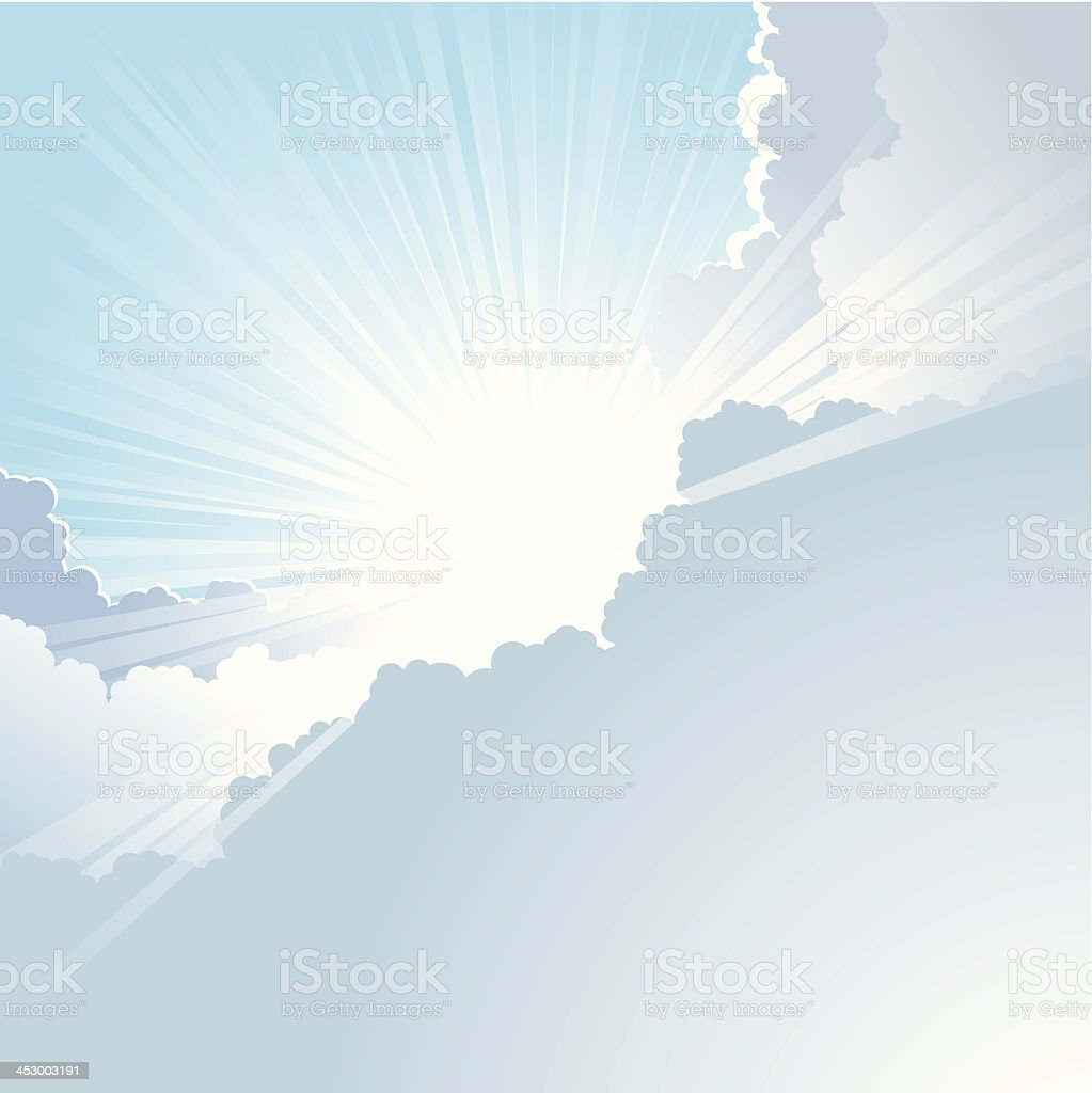 Sun bursts through the clouds with blue sky vector art illustration