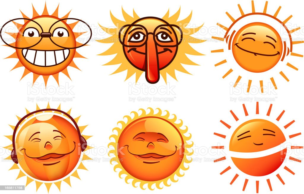 sun cartoons set royalty-free stock vector art