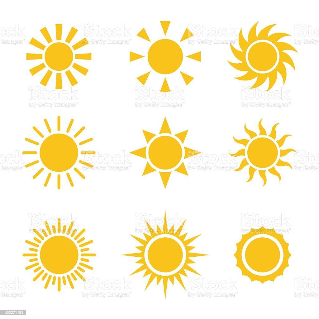 Sun Color Icons Set vector art illustration