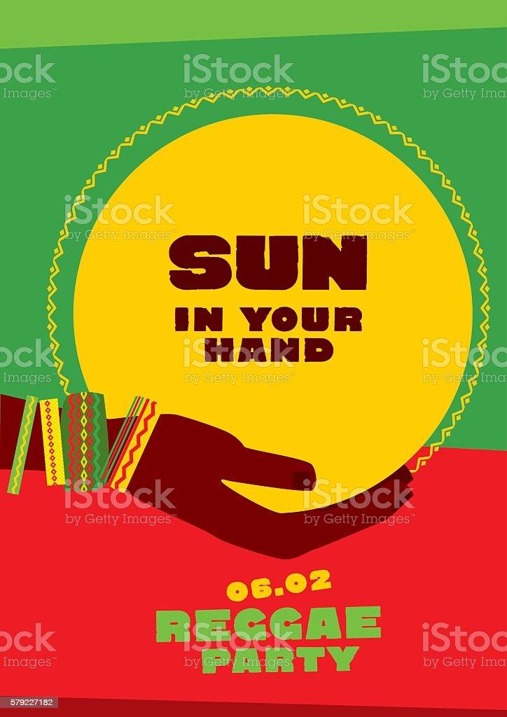 sun disk and tribal human hand with bracelets. reggae folk vector art illustration