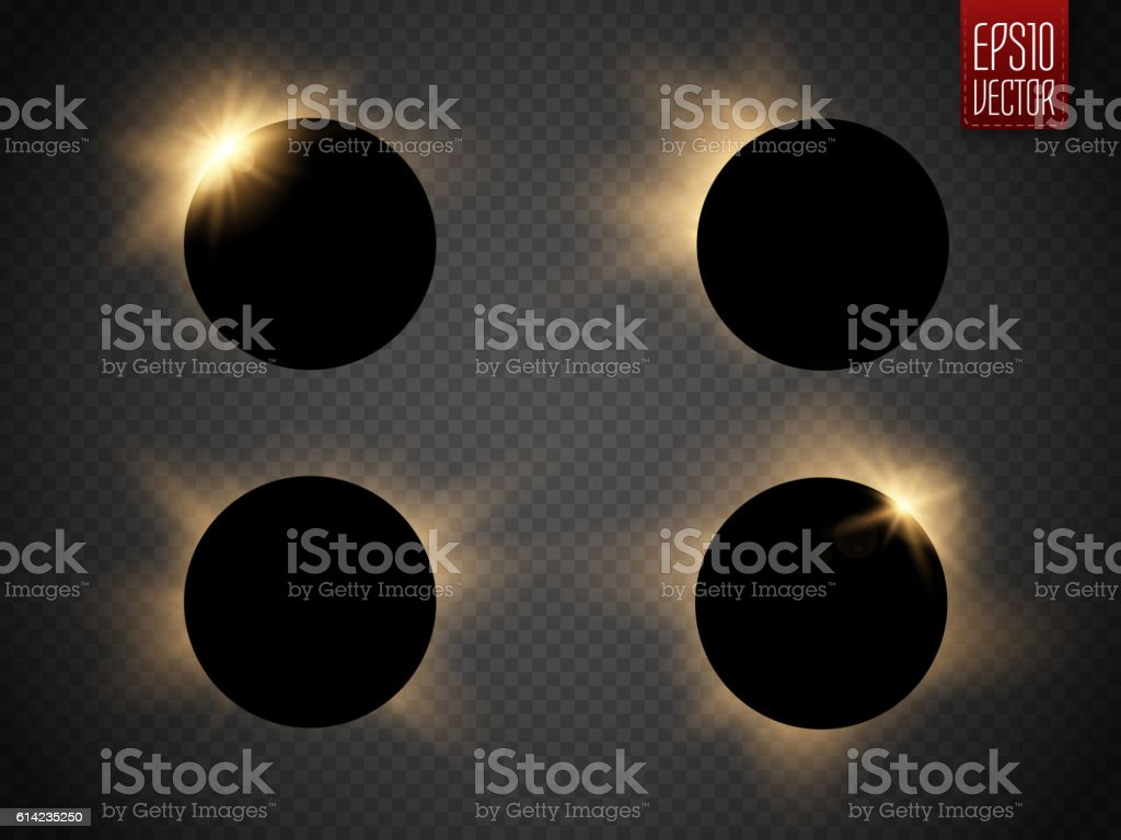 Sun eclipse isolated on transparent background. Vector vector art illustration
