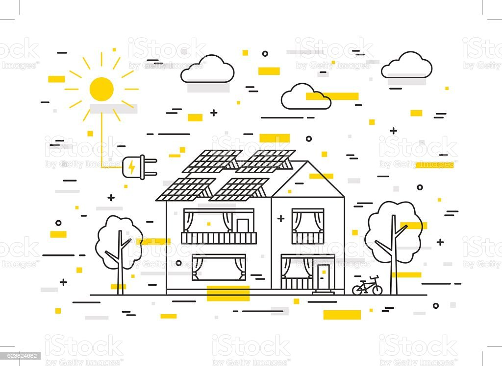 Sun electricity house vector concept vector art illustration