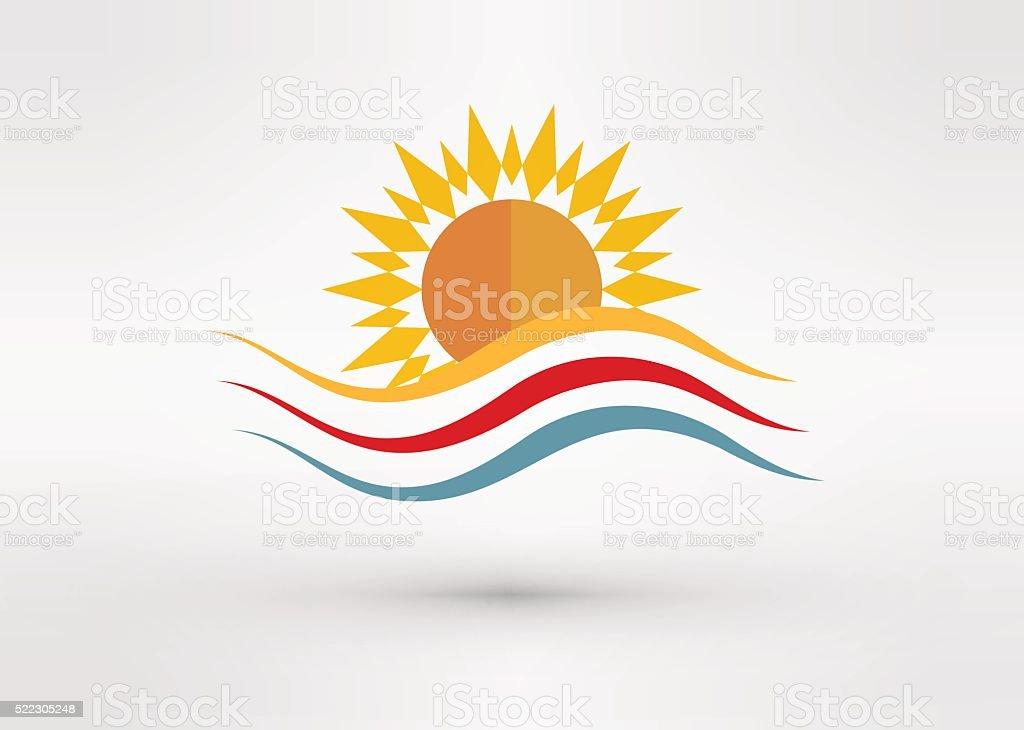 Sun Energy icon Template vector art illustration