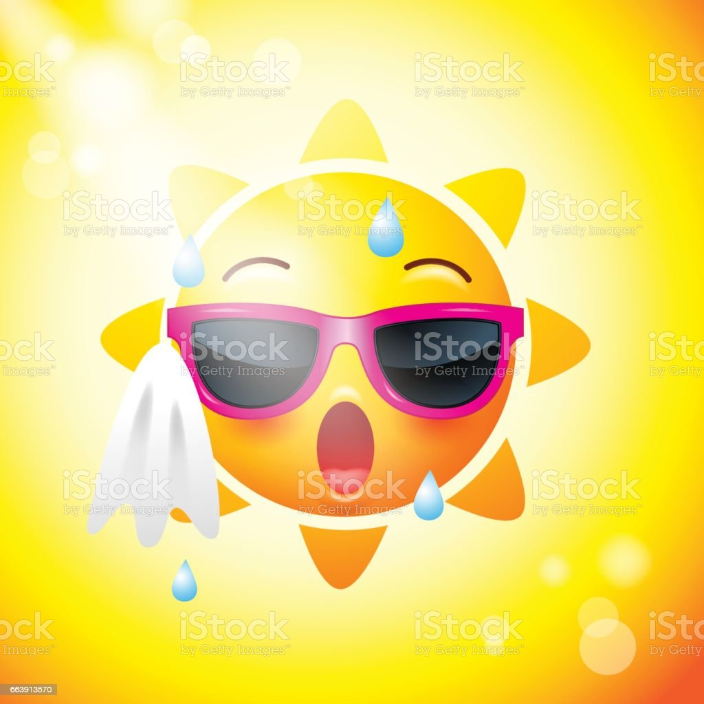 Sun face icons or yellow , funny faces in realistic . emojis .hot summer. Vector illustration vector art illustration