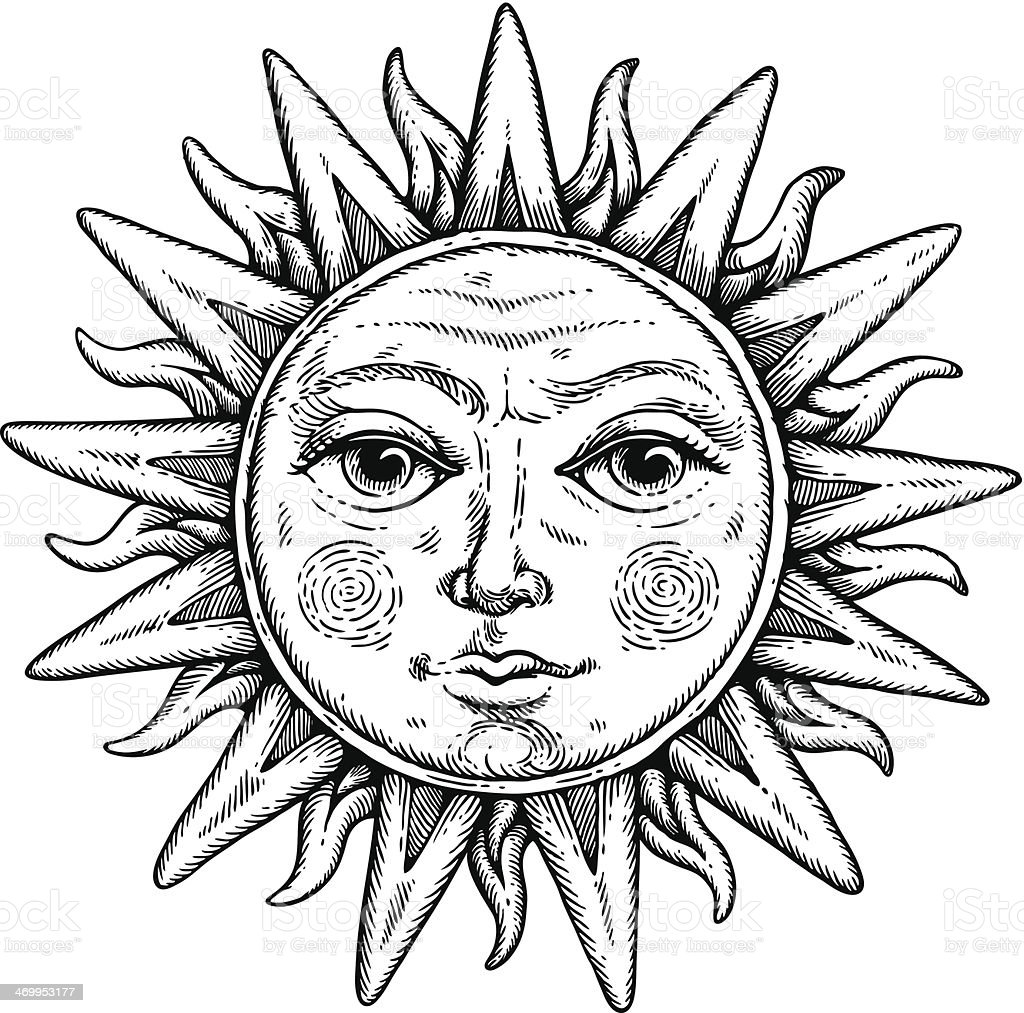Line Drawing Sun Vector : Sun face stock vector art istock