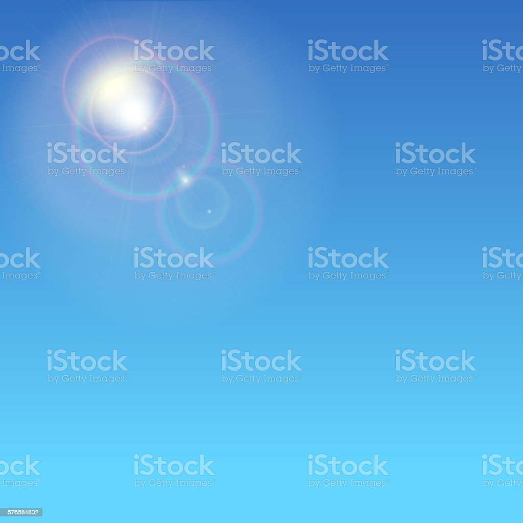 Sun flare. Colorful sunset vector art illustration