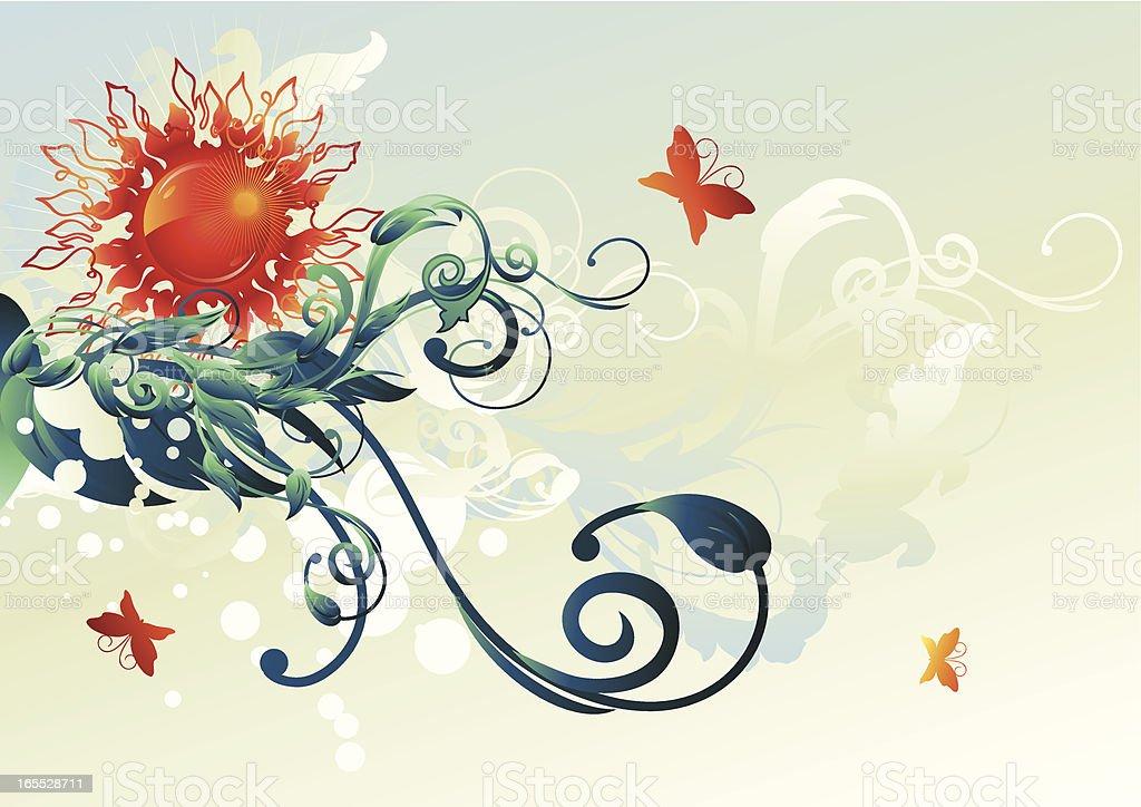 Sun & flourish vector art illustration