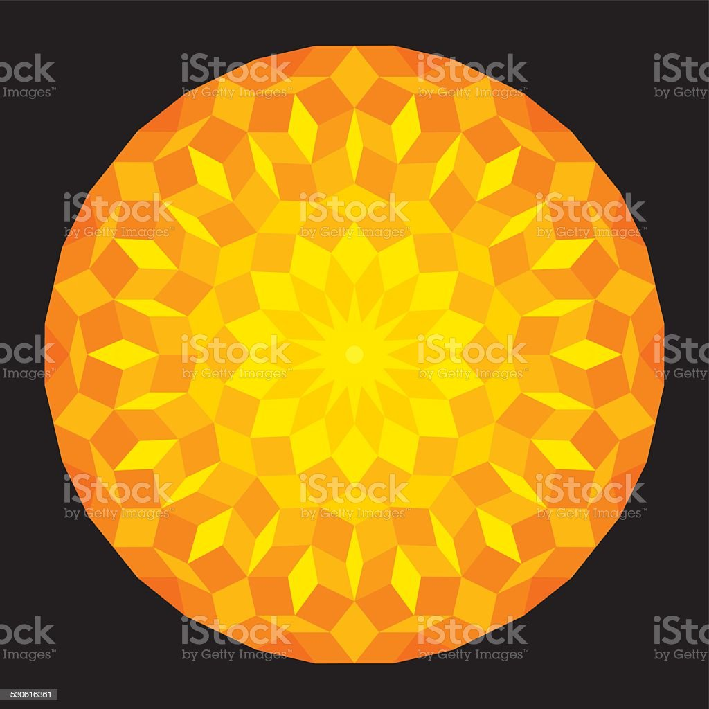 Sun from a Penrose Pattern On Black Background vector art illustration