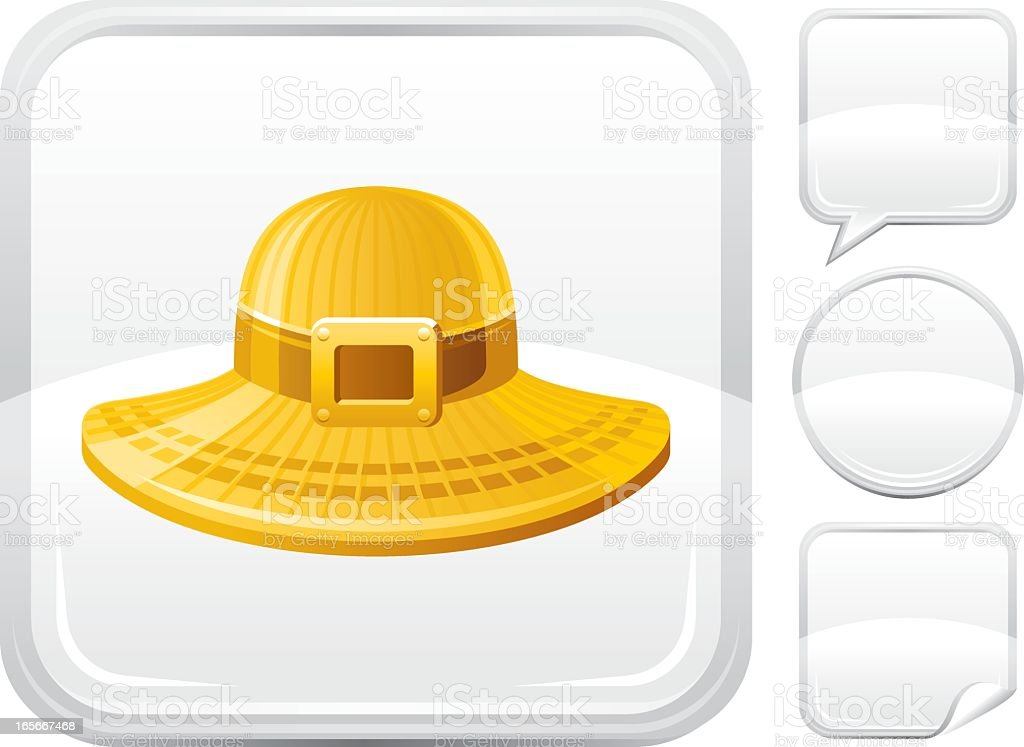 Sun hat icon on silver button vector art illustration