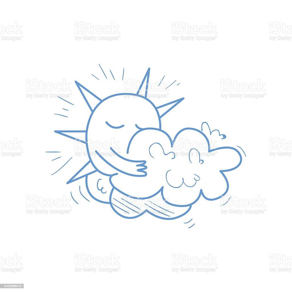 Sun Hiding Behind The Cloud vector art illustration