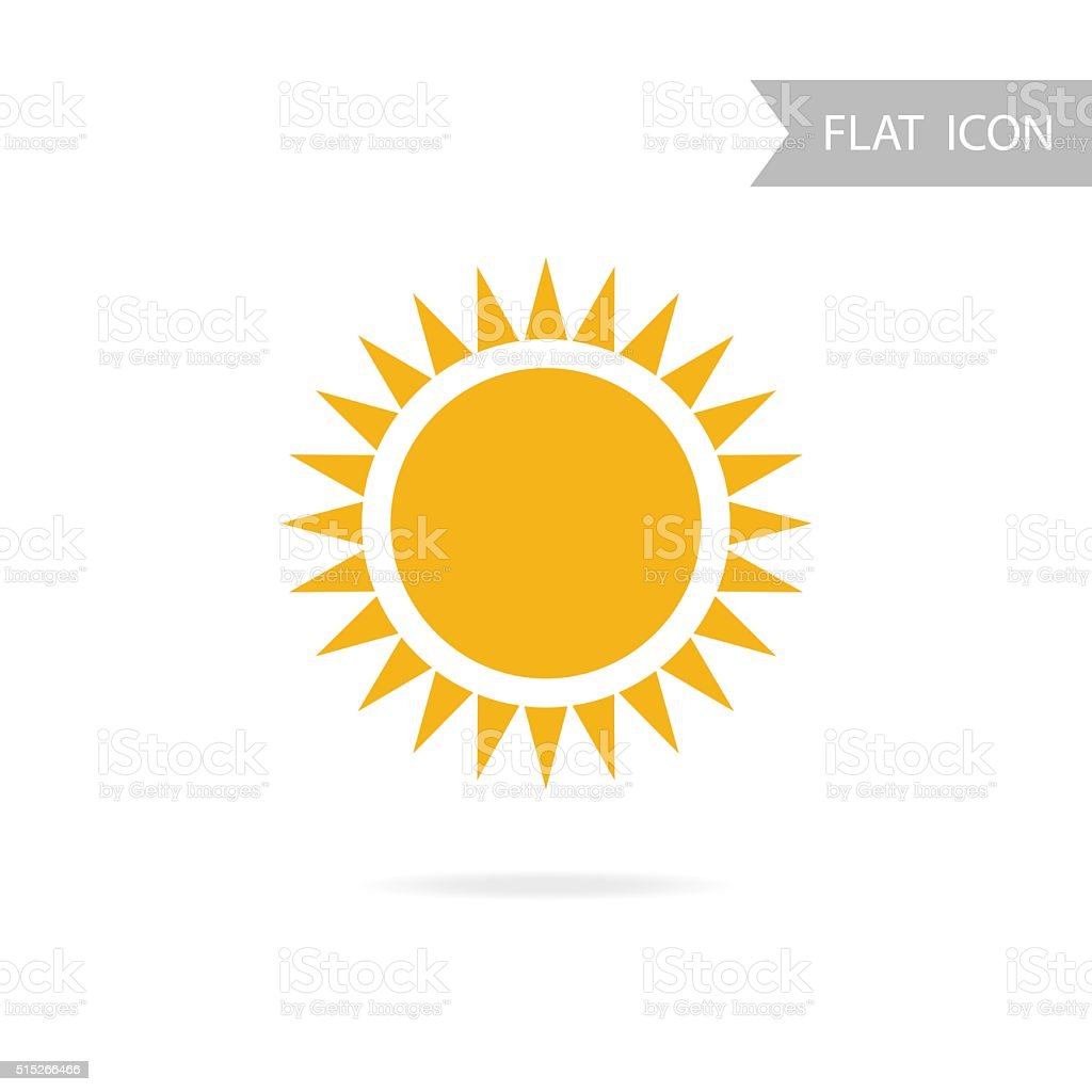 Sun Icon and Design Element isolated on White Background. vector art illustration