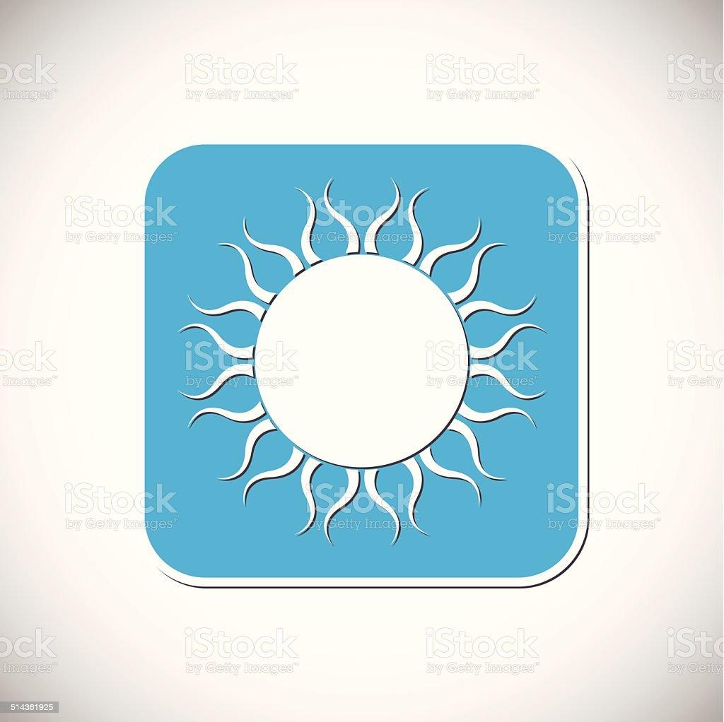 Icône du soleil.  Monture carrée bleu.  Illustration vectorielle stock vecteur libres de droits libre de droits