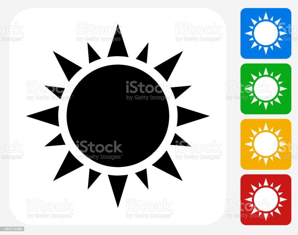 Sun Icon Flat Graphic Design vector art illustration