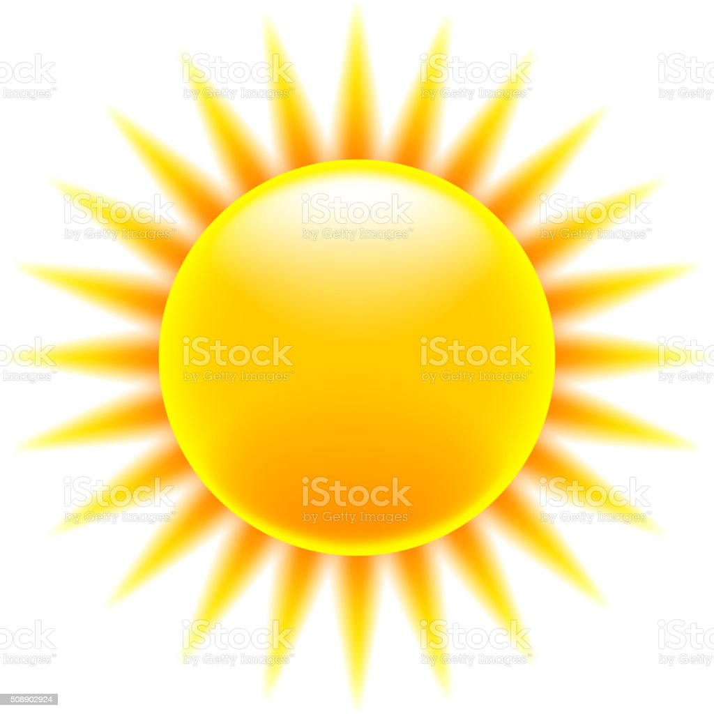 Sun icon isolated on white vector vector art illustration