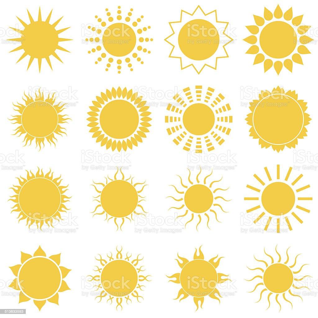 Soleil Ensemble d'icônes sur un arrière-plan blanc stock vecteur libres de droits libre de droits
