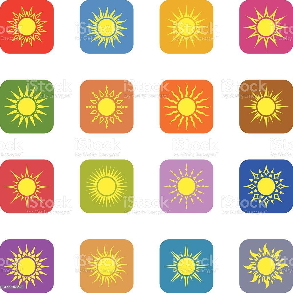 Sun Icon Set vector art illustration