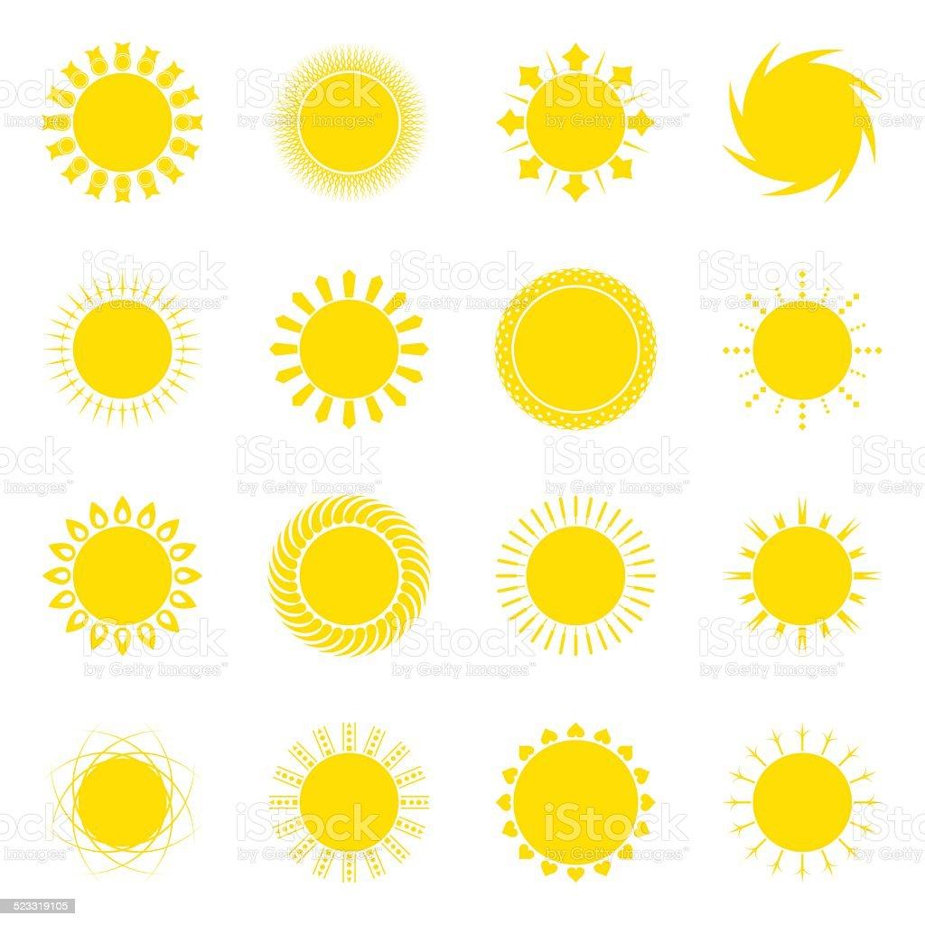 Soleil icon set vector illustration stock vecteur libres de droits libre de droits