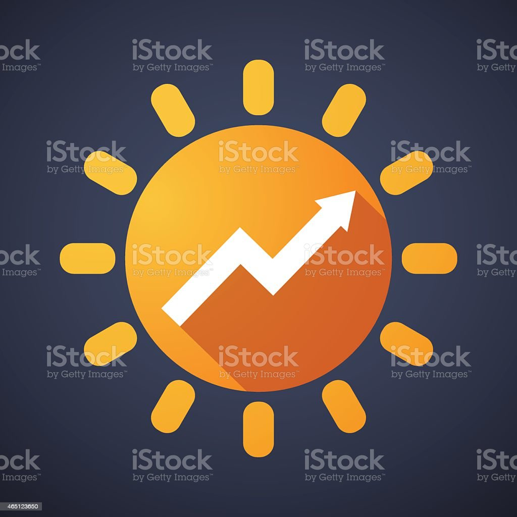 Sun icon with a graph vector art illustration