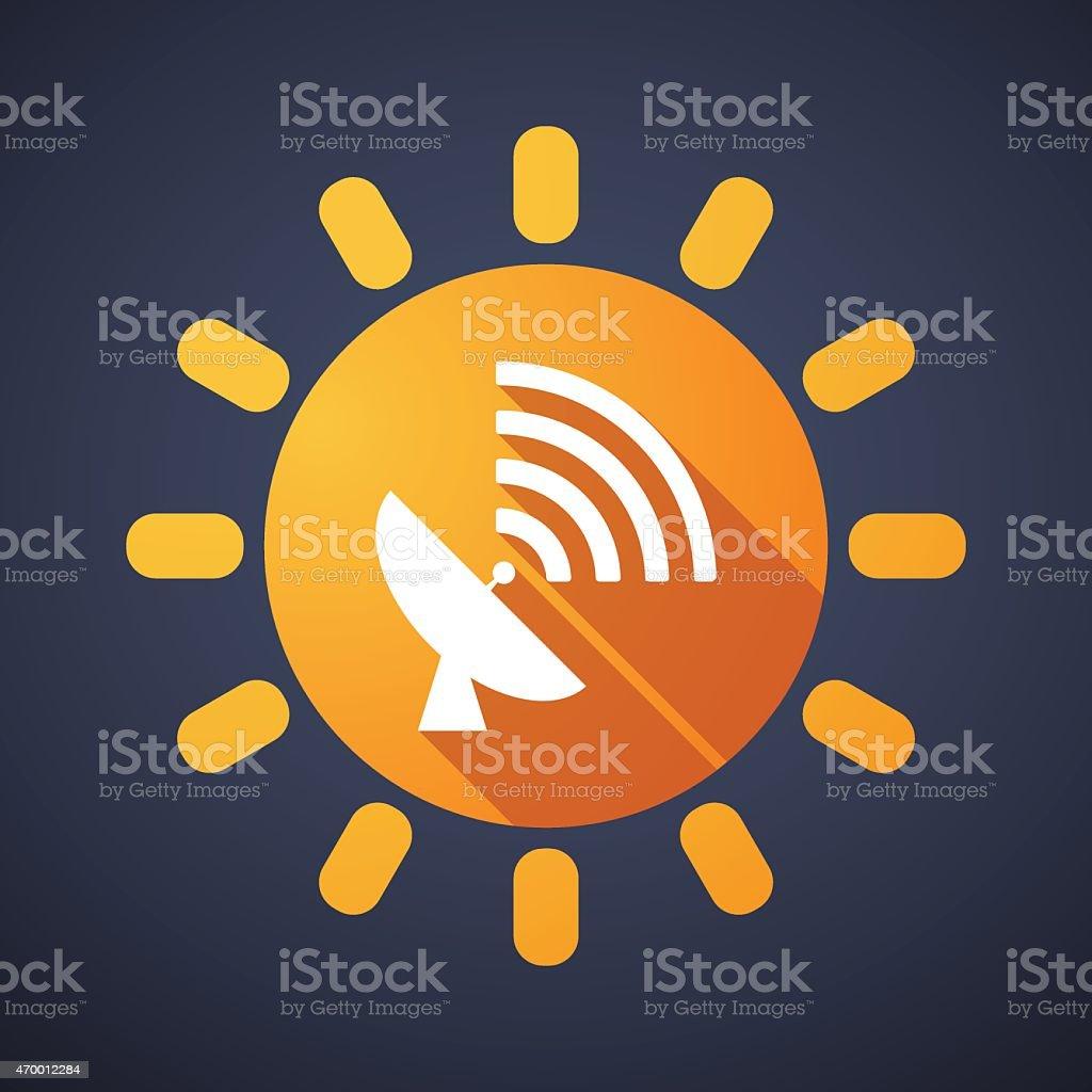 Sun icon with an antenna vector art illustration