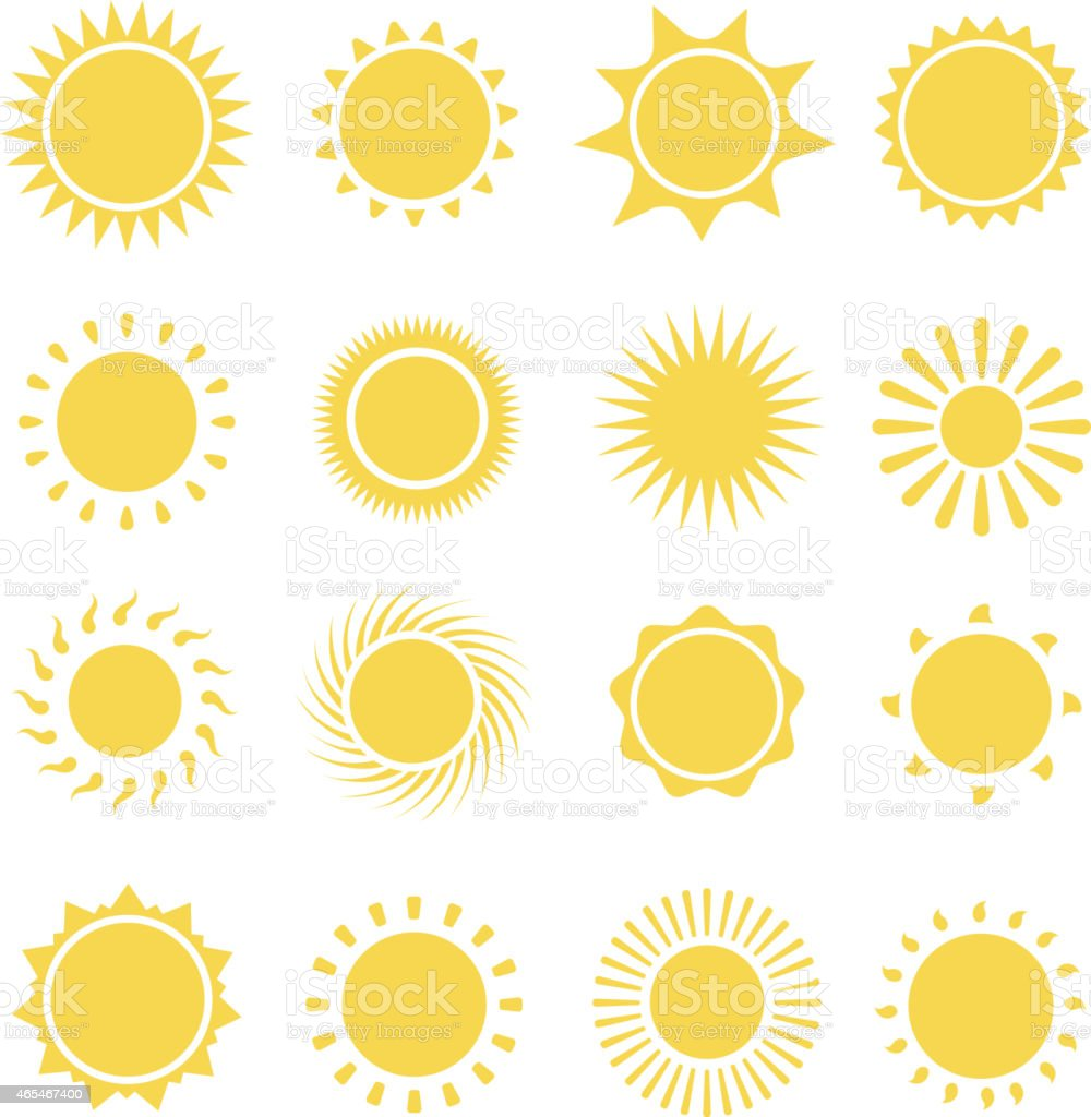 Sun icons collection. Vector illustration vector art illustration