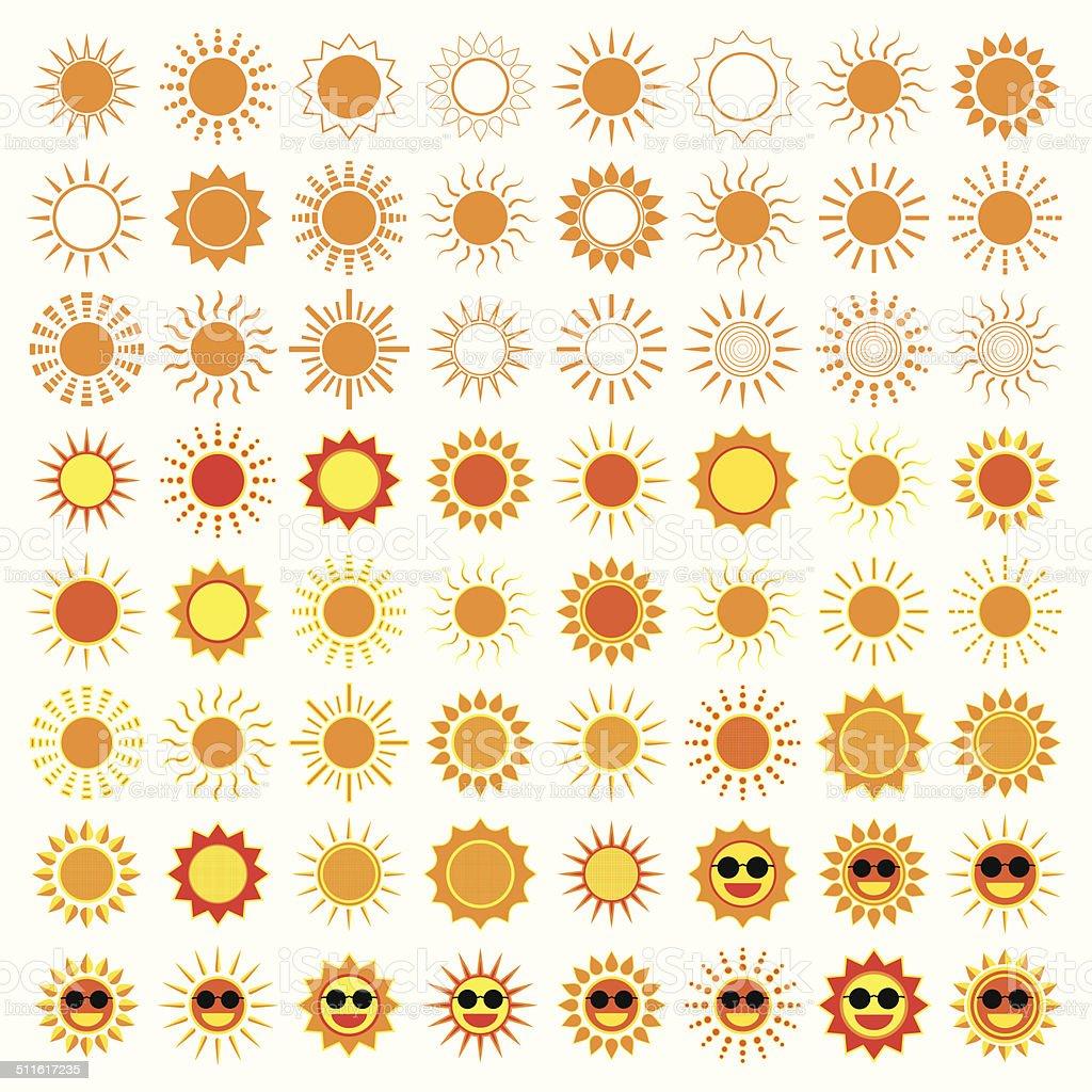 64 soleil icônes sur fond blanc stock vecteur libres de droits libre de droits