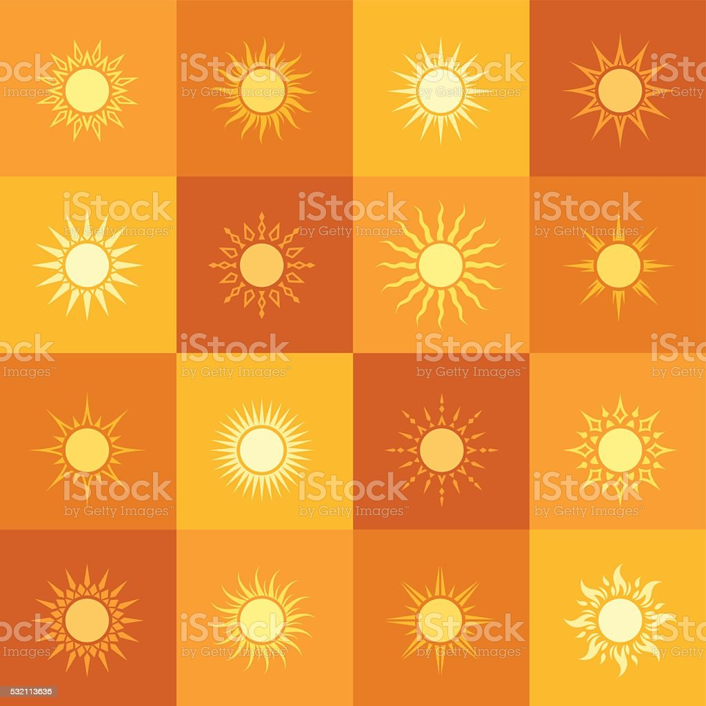 Sun Icons Pattern vector art illustration