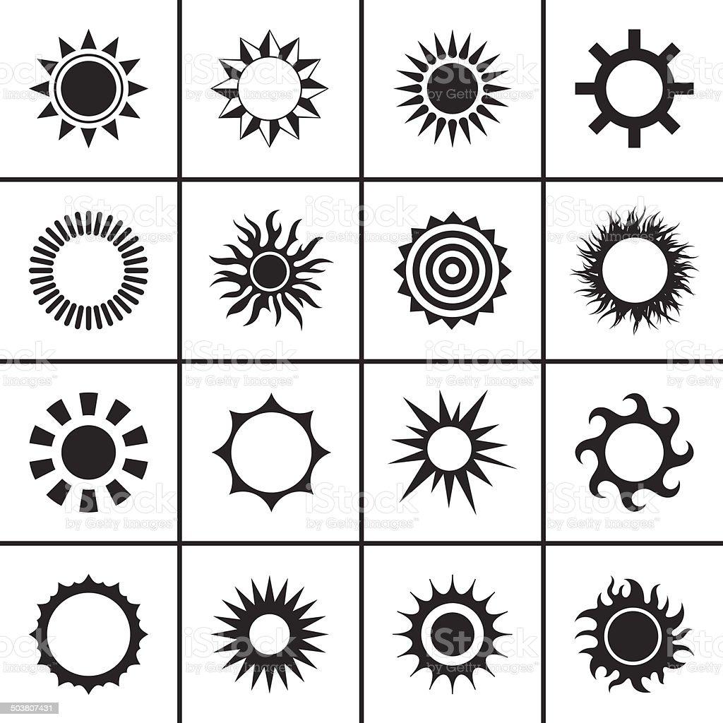 Sun icons set vector art illustration