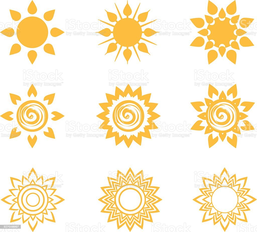 Sun Icons vector art illustration