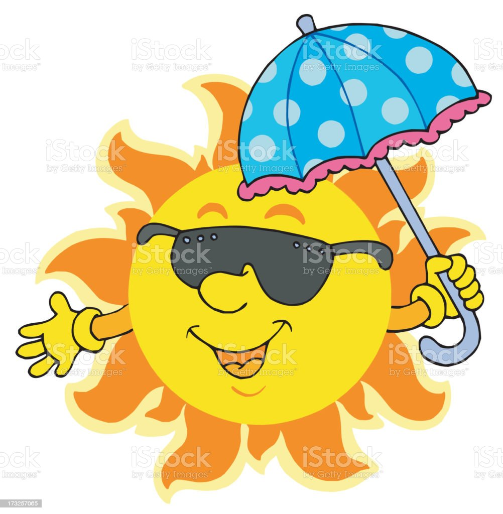 Sun in sunglasses with umbrella royalty-free stock vector art