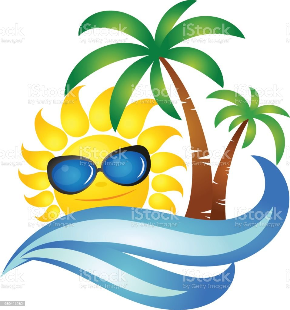 Sun on wave and palm design vector art illustration