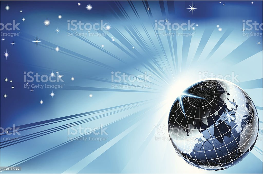 Sun rising over night time planet earth background royalty-free stock vector art
