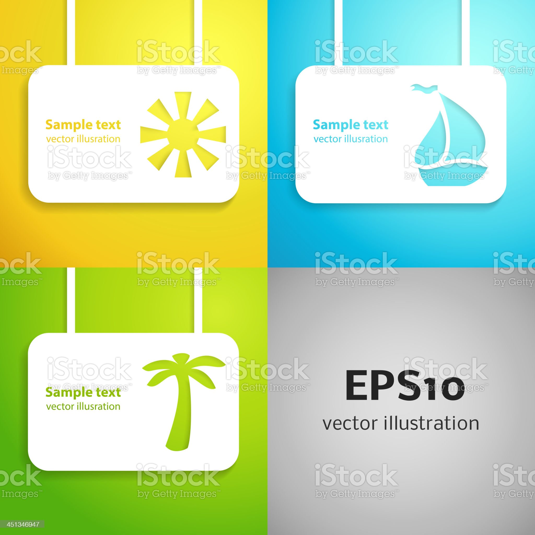 Sun, sail boat and palm tree applique background set. royalty-free stock vector art