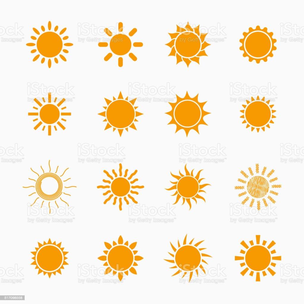 Sun symbols set vector art illustration