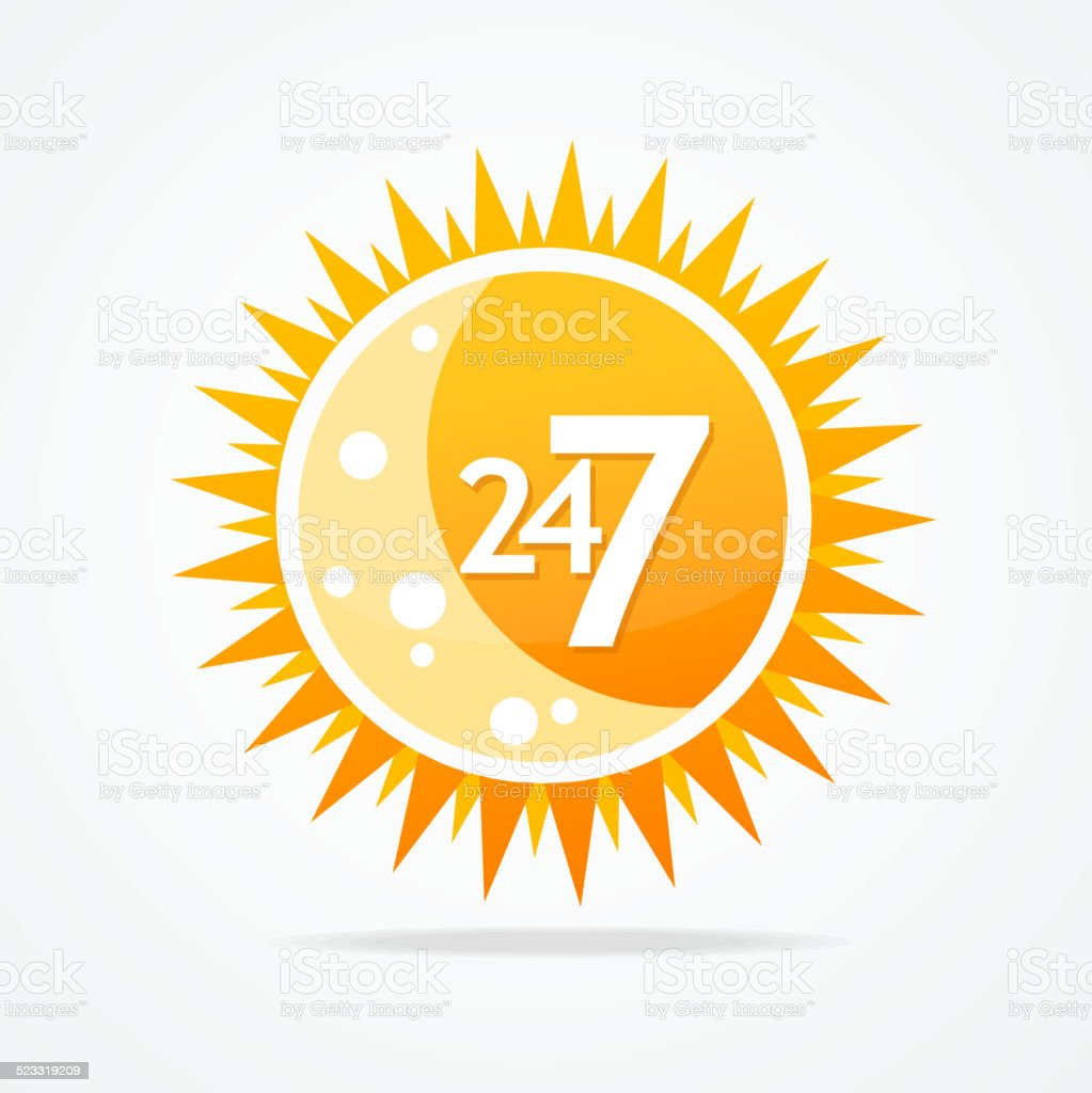 Sun vector icon. 24 hours and 7 days open sign. vector art illustration