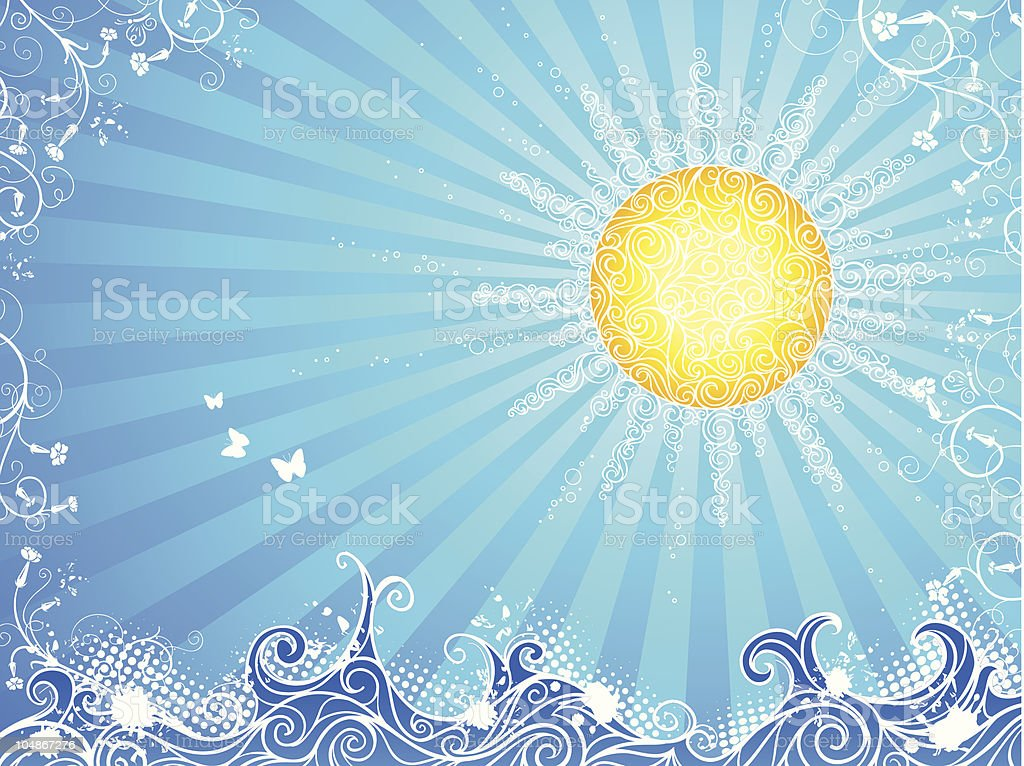 Sun, waves and flowers royalty-free stock vector art
