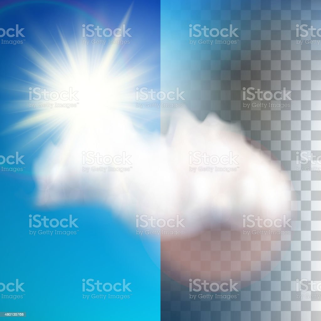 Sun with cloud floats in the sky. EPS 10 vector art illustration