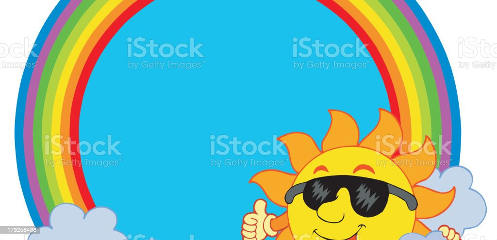 Sun with cloud in rainbow circle royalty-free stock vector art